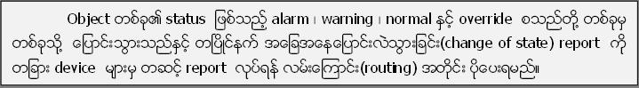 Object တစ္ခု၏ status  ျဖစ္သည့္ alarm ၊ warning ၊ normal ႏွင့္ override  စသည္တုိ႔ တစ္ခုမွ တစ္ခုသုိ႔  ေျပာင္းသြားသည္ႏွင့္ တၿပိဳင္နက္ အေျခအေနေျပာင္းလဲသြားျခင္း(change of state) report  ကုိ တျခား device  မ်ားမွ တဆင့္ report  လုပ္ရန္ လမ္းေၾကာင္း(routing) အတုိင္း ပုိ႔ေပးရမည္။