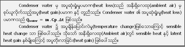 Condenser water မွ အပူဆုံး႐ႈံးမႈပမာဏ(heat loss)သည္ အနီးရွိေလထု(ambient air) မွ စုပ္ယူလိုက္သည့္အပူ(heat gain)ပမာဏ နွင့္ တူညီသည္။ Condenser water ၏ အပူဆုံး႐ႈံးမႈ(heat loss) ပမာဏသည္ Q_water  = m .Cp .Δt  ျဖစ္သည္။ Condenser water ၌ အပူခ်ိန္ေျပာင္းလဲမႈ(temperature change)ျဖစ္ေသာေၾကာင့္ sensible heat change သာ ျဖစ္ေပၚသည္။ သို႔ေသာ္ အနီးရွိေလထု(Ambient air)တြင္ sensible heat ႏွင့္ latent heat gain ႏွစ္မ်ိဳးေၾကာင့္ အပူတုိးလာျခင္း(heat gain) ျဖစ္ေပၚသည္။