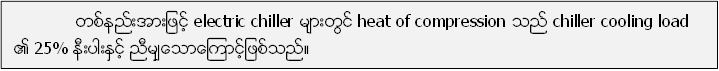 တစ္နည္းအားျဖင့္ electric chiller မ်ားတြင္ heat of compression သည္ chiller cooling load ၏ 25% နီးပါးႏွင့္ ညီမ်ွေသာေၾကာင့္ျဖစ္သည္။