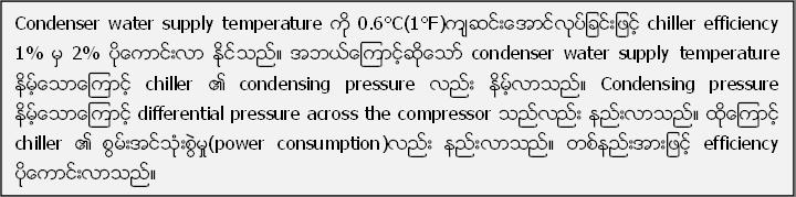 Condenser water supply temperature ကို 0.6°C(1°F)က်ဆင္းေအာင္လုပ္ျခင္းျဖင့္ chiller efficiency 1% မွ 2% ပိုေကာင္းလာ ႏုိင္သည္။ အဘယ္ေၾကာင့္ဆိုေသာ္ condenser water supply temperature နိမ့္ေသာေၾကာင့္ chiller ၏ condensing pressure လည္း နိမ့္လာသည္။ Condensing pressure နိမ့္ေသာေၾကာင့္ differential pressure across the compressor သည္လည္း နည္းလာသည္။ ထို႔ေၾကာင့္ chiller ၏ စြမ္းအင္သံုးစြဲမႈ(power consumption)လည္း နည္းလာသည္။ တစ္နည္းအားျဖင့္ efficiency ပိုေကာင္းလာသည္။