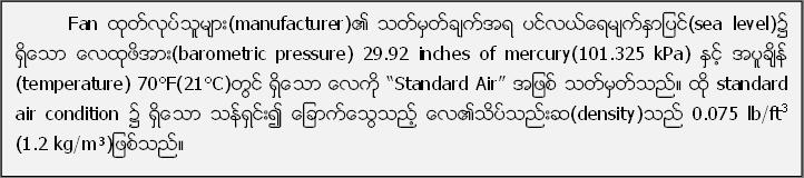"""Fan ထုတ္လုပ္သူမ်ား(manufacturer)၏ သတ္မွတ္ခ်က္အရ ပင္လယ္ေရမ်က္ႏွာျပင္(sea level)၌ ရွိေသာ ေလထုဖိအား(barometric pressure) 29.92 inches of mercury(101.325 kPa) ႏွင့္ အပူခ်ိန္ (temperature) 70°F(21°C)တြင္ ရွိေသာ ေလကို """"Standard Air"""" အျဖစ္ သတ္မွတ္သည္။ ထုိ standard air condition ၌ ရွိေသာ သန္႔ရွင္း၍ ေျခာက္ေသြ႔သည့္ ေလ၏သိပ္သည္းဆ(density)သည္ 0.075 lb/ft3 (1.2 kg/m³)ျဖစ္သည္။"""