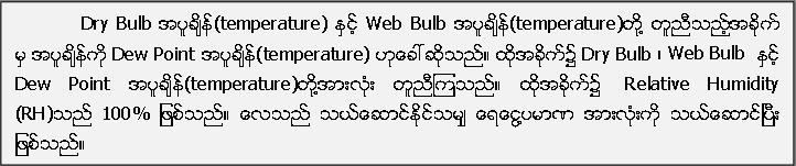 Dry Bulb အပူခ်ိန္(temperature) ႏွင့္ Web Bulb အပူခ်ိန္(temperature)တို႔ တူညီသည့္အခိုက္ မွ အပူခ်ိန္ကို Dew Point အပူခ်ိန္(temperature) ဟုေခၚဆိုသည္။ ထိုအခိုက္၌ Dry Bulb ၊ Web Bulb  ႏွင့္ Dew Point အပူခ်ိန္(temperature)တုိ႔အားလုံး တူညီၾကသည္။ ထုိအခိုက္၌  Relative Humidity (RH)သည္ 100% ျဖစ္သည္။ ေလသည္ သယ္ေဆာင္ႏုိင္သမ်ွ ေရေငြ႔ပမာဏ အားလံုးကို သယ္ေဆာင္ၿပီး ျဖစ္သည္။