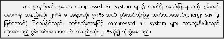 ယေန႔႔လည္ပတ္ေနေသာ compressed air system မ်ား၌ လက္ရွိ အသံုးျပဳေနသည့္ စြမ္းအင္ ပမာဏမွ အနည္းဆံုး ၂၀% မွ အမ်ားဆံုး ၅၀% အထိ စြမ္းအင္သံုးစြဲမႈ သက္သာေအာင္(energy saving ျဖစ္ေအာင္) ျပဳလုပ္ႏုိင္္သည္။ တစ္နည္းအားျဖင့္ compressed air system မ်ား အားလံုးနီးပါးသည္ လုိအပ္သည့္ စြမ္းအင္ပမာဏထက္  အနည္းဆံုး ၂၀% ပို၍ သံုးစြဲေနသည္။